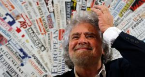 Five Star Movement leader  Beppe Grillo  before a news conference for the foreign press in  Rome today. Photograph: Stefano Rellandini/Reuters