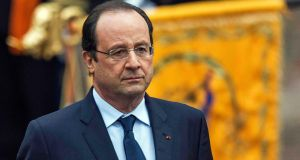 François Hollande: despite the messy entrails of his private life smudging the Élysée mirrors, his popularity has risen. The French never need to be reminded that amour is ageless. Photograph: Michael Kooren/Reuters