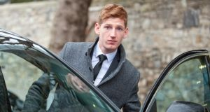 Scott Flood-Wiley (21), of Adelaide Street, Dún Laoghaire, leaving Dublin Circuit Criminal Court today after pleading guilty to affray on Lower Rathmines Road on March 20th, 2011. Photograph: Collins Courts