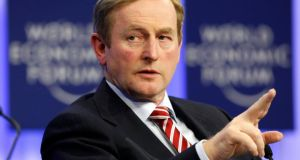 Taoiseach  Enda Kenny gestures during a session at the annual meeting of the World Economic Forum (WEF) in Davos on Thursday. Photograph: Reuters