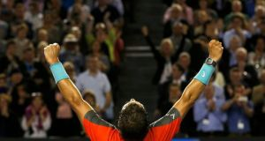 Rafael Nadal of Spain celebrates defeating Roger Federer of Switzerland in their men's singles semi-final match at the Australian Open in Melbourne. Photograph: Bobby Yip/Reuters