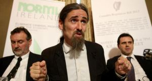 Dope debate: Luke Flanagan at a news conference to promote cannabis legalisation. Photograph: Brian Lawless/PA