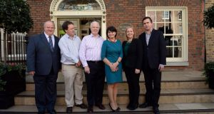 Plinth politics: Reform Alliance members (from left) Billy Timmins, Paul Bradford, Peter Mathews, Fidelma Healy Eames, Lucinda Creighton and Terence Flanagan. Photograph: Brenda Fitzsimons