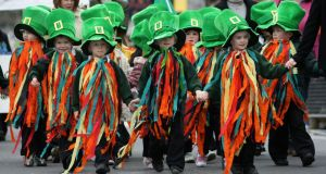 Processes and processions: children taking part in the St Patrick's Day parade in Gort, Co Galway. Photograph: Joe O'Shaughnessy