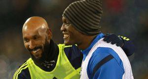 Everton's Romelu Lukaku (right) and West Bromwich Albion's Nicolas Anelka. Photograph: PA Wire
