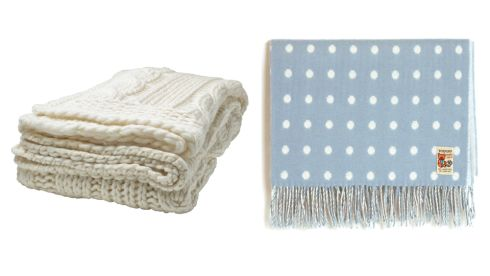 Annbritt throw, €25, Ikea Blue spot blanket,  €39.95, Kilkenny shop