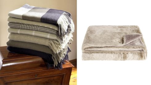 The Cragg throw collection, starting from €82, foxfordwollenmills.com Faux fur throw, €109, Debenhams