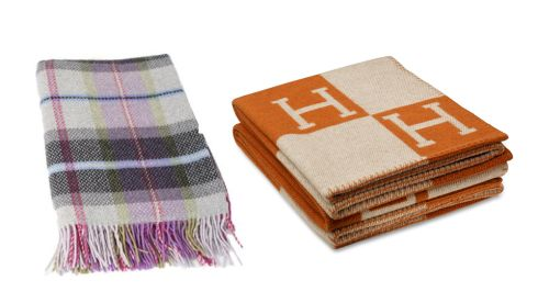 Wool-cashmere throw, €139.47, blarney.com Hermes burnt orange and cream throw, €995, at Brown Thomas