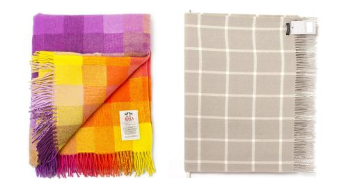 Spectrum throw in jellybean, €49.95, Avoca Bone windowpane throw, €82, foxfordwollenmills.com