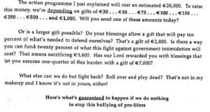 Excerpt from a letter sent to potential donors by Family and Life