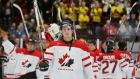 Stick around:  Anthony Mantha and the Canadian ice-hockey team salute their supporters after being defeated by Russia in Sweden this month. Photograph: Alexander Demianchuk/Reuters