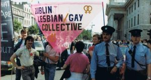 Marching for gay and lesbian rights in O'Connell Street back in 1984.
