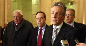 Beauty and the Beast. Ian Paisley with his successor, Peter Robinson, and (centre) Nigel Dodds. Photograph: PA