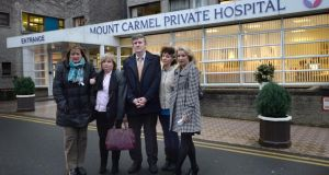INMO representatives Marian Hendrick, left, Eileen Finn, Philip McAnenly,  Eleanor Byrne and Patricia Kelly Maloney at Mount Carmel Hospital, Churchtown, Dublin, where a joint provisional liquidator has been appointed. Photograph: Brenda Fitzsimons/The Irish Times