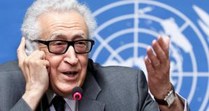 UN and Arab League Special Envoy to Syria Lakhdar Brahimi giving a press conference in Geneva. Photograph: Salvatore Di Nolfi/Epa