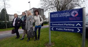 Irish Medical Organisation representatives Eileen Finn, Marian Hendrick, Patricia Kelly Maloney and Eleanor Byrne at the now closed Mount Carmel Hospital, Churchtown, Dublin, after the appointment of a provisional liquidator. Photograph: Brenda Fitzsimons