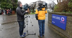 Media gather at Mount Carmel Hospital, Churchtown, Dublin, on the news that a joint provisional liquidator has been appointed to the hospital. Photograph: Brenda Fitzsimons/The Irish Times