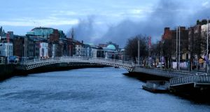 Smoke seen over Dublin this morning. Photograph: Éanna Ó Caollaí/The Irish Times