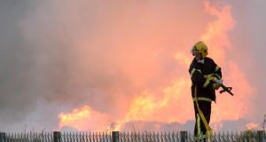 Eight units of the Dublin fire brigade are at the scene of the fire. Photograph: Dara Mac Dónaill/The Irish Times