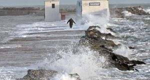 File photograph of high wind and waves at Poolbeg , Dublin. Photograph: Eric Luke / The Irish Times