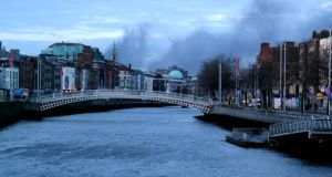 Smoke could be seen over Dublin yesterday. Photograph: Éanna Ó Caollaí/The Irish Times