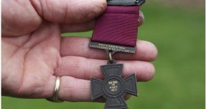 The Victoria Cross: A total of 27 British soldiers who were born in what is now the Republic will receive the honour. The proposal is to erect the specially designed stones in their home towns on the centenary of the day in which the British army's highest honour for bravery was won. Photograph: Bryan O'Brien