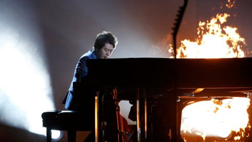 He's on fire! Lang Lang performs One with Metallica. Photograph: Mario Anzuoni/Reuters