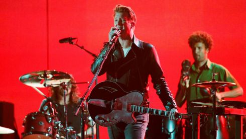 It's heavy, it's loud, it's arty: Josh Homme of Queens of the Stone Age performs My God Is the Sun at the Grammys. Photograph: Mario Anzuoni/Reuters