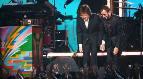 Just a little bit of adulation then as former Beatles Paul McCartney and Ringo Starr take their bow after performing together. Photograph: Mario Anzuoni/Reuters