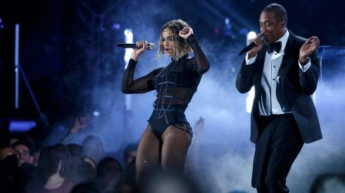 Industry cheerleaders and No 1 couple Beyoncé and husband Jay-Z perform Drunk In Love.Photograph: Mario Anzuoni/Reuters