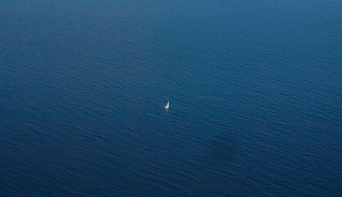 April: A lone sailor in Galway Bay, Co Galway. Photograph: Jerry Kennelly
