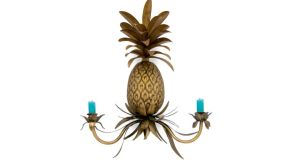 THREE OF THE BEST . . . PINEAPPLE EXPRESS Metal light sconces by London-based Abigail Ahern (0044-2073548181, abigailahern.com), 41cm by 49cm, cost €122 (£100), with two turquoise candles the price is €125.35 (£103). Delivery to Ireland is another €42 (£34.40).