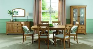 Navan-based Beechmount Furniture (046-902 7066, beechmount furniture.ie) in Beechmount Home Park has a smart dining range on offer. Chantilly, an American oak design of a pedestal-legged dining table, 175cm by 100cm by 77cm, which extends to 225cm long when open, and six matching X-backed chairs, in either fabric or a leather finish, has been reduced from €1,850 to €1,475. The accompanying sideboard, 166cm by 50cm by 90cm, was €1,999 and is now €999, while the double-door display cabinet, 108cm by 45cm by 200cm, is down from €1,475 to €1,050. Offers end February 28th.