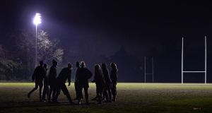 The Irish team training by night at Anglesea  Road, Dublin. Photograph: Eric Luke