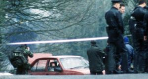 The bullet-riddled Cavalier car belonging to senior RUC officers Harry Breen and Bob Buchanan after their murder in an IRA ambush in March 1989