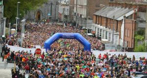 The start of the six-mile event at the Barringtons Hospital Great Limerick Run last year. Photograph: Kieran Clancy