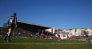 Stade Félix Mayol (above) holds only 15,400 but under ERC rules travelling fans are entitled to purchase 25 per cent of the capacity (3,841).
