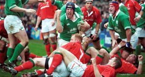 "Paul O'Connell scoring the try he doesn't remember on his international debut against Wales in Lansdowne in 2002. ""I didn't score a try. You're only saying that to get me to come off."" Photograph: Inpho/Allsport"