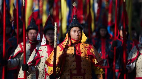 Striking colour on display ahead of the Spring festival. Photograph: Diego Azubel/ EPA
