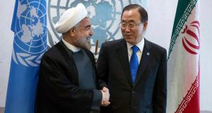 President Hassan Rohani with UN secretary-general  Ban Ki-moon. Photograph: Reuters