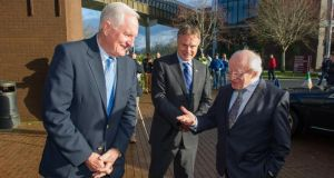 President Michael D Higgins with ITLG president Craig Barrett (left) and chairman John Hartnett at the ITLG Silicon Valley Technology Forum in Limerick. Photograph: Barry Cronin