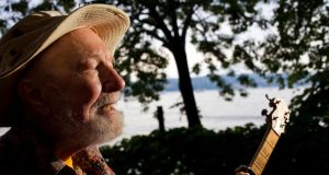 Pete Seeger photographed in Beacon, New York state, in August 2010. Photograph: Andrew Sullivan/The New York Times