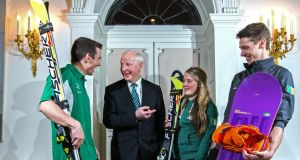 At the announcement of Ireland's team for the  Sochi Winter Olympic Games at The Merrion Hotel in Dublin were  (L-R) Conor Lyne,  Olympic Council of Ireland president   Pat Hickey, Florence Bell and  Seamus O'Connor. Photograph: Cathal Noonan/Inpho