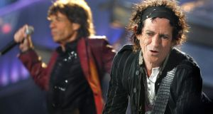 Keith Richards (right) and Mick Jagger of the Rolling Stones perform at Slane in August  2007. Photograph: Kate Geraghty/The  Irish Times