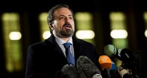 Louay Safi, Spokesman for the Syrian National Coalition, briefs the media at the European headquarters of the United Nations in Geneva, Switzerland. Photograph: EPA