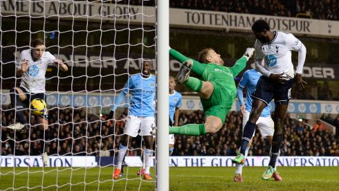Tottenham's Michael Dawson (left) hit the net but it was ruled out for offside. Photograph:   Reuters/Dylan Martinez
