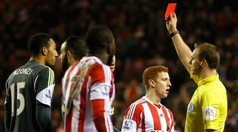 Stoke's cause was not helped when Steven N'Zonzi  was shown a red card by referee Bobby Madley. Photograph: Russell Cheyne