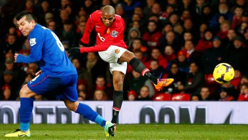 Ashley Young scores United's second in a 2-0 victory