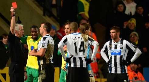 Newcastle, who agreed a fee to sell Johan Cabaye to PSG, lost another Frenchman in their game with Norwich. Referee Chris Foy showed Loic Remy red at Carrow Road. The game ended scoreless. Photograph: Jamie McDonald/Getty Images