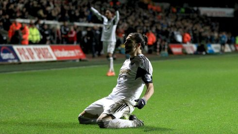 Swansea City's Chico Flores celebrates scoring his side's second goal during their 2-0 win over Fulham at the Liberty Stadium.